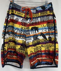 Rusty Board Shorts Recycled Material Waist Tie Zip Back Pock