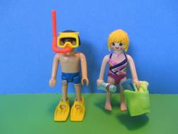 Playmobil figures MAN + WOMAN IN SWIM SUITS W/ TOTE + TOWELS