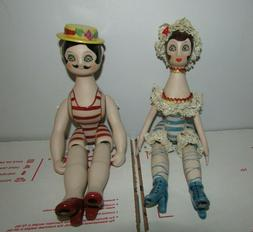 Vtg Jointed Porcelain Dolls Man Woman Pair Victorian Style B